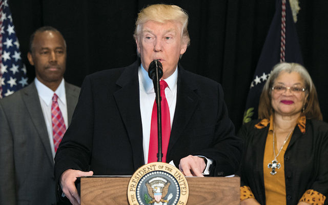 President Donald J. Trump speaks at the National Museum of African American History and Culture on February 21. (Kevin Dietsch/Pool/Getty Images)