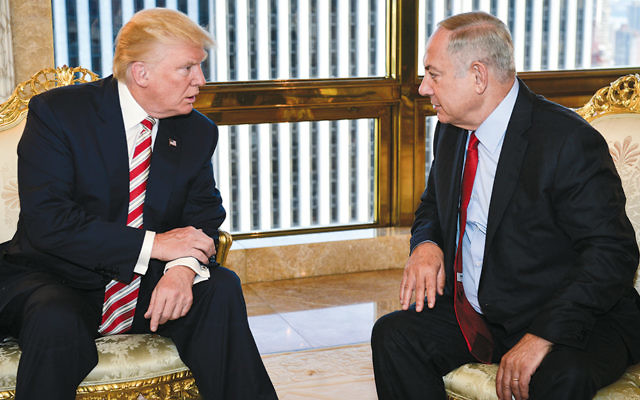 Donald Trump, then a candidate for president, meets with Israeli Prime Minister Benjamin Netanyahu in New York on September 25, 2016. (Kobi Gideon/Israeli Government Press Office)