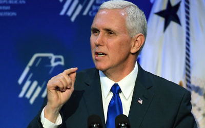 Vice President Mike Pence speaking at the Republican Jewish Coalition's annual leadership meeting at The Venetian Las Vegas, Feb. 24, 2017. (Ethan Miller/Getty Images)