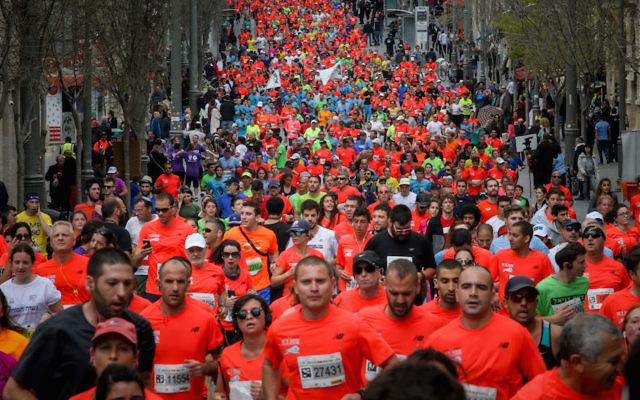 Runners taking part in the Jerusalem Marathon, March 18, 2015. (Yonatan Sindel/Flash90)