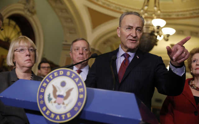 Senate Minority Leader Chuck Schumer speaking with the media at the Capitol building, Jan. 31, 2017. (Aaron P. Bernstein/Getty Images)