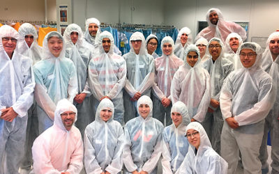 During a visit to Applied Materials in Rehovot, the group suits up for the clean room, where computer chips and the tools to work with them are manufactured and diagnosed.