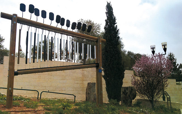 The chimes, stand at the edge of a park in Rosh Pinah.