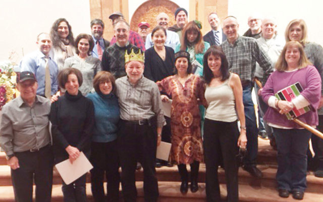 Part of the Shomrei Torah Purim spiel cast. Beth Julie is at front right.