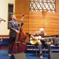 Temple Beth El of Northern Valley in Closter held the second concert of its new MusicLAB (Live At Beth El) concert series, sponsored by Whole Foods Market. Entertainment was by the jazz group Bucky Pizzarelli and Friends. Bucky performed with his performance partner, Ed Laub, Bucky's son, bassist Martin Pizzarelli, and violinist Aaron Weinstein. (Courtesy TBENV)