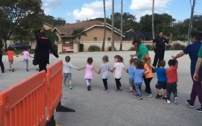 Preschoolers evacuated from a Florida JCC following a bomb threat in February, 2017.