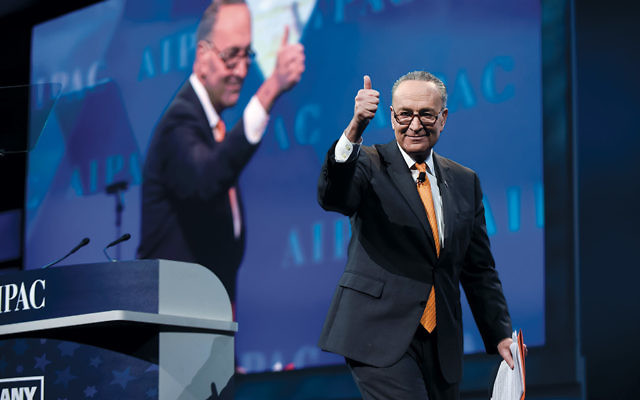 Sen. Charles Schumer of New York, the Senate minority leader, at the AIPAC policy conference  on March 28. (Courtesy of AIPAC)