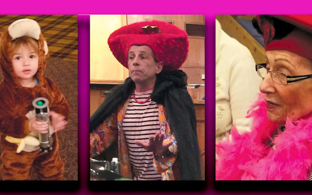 A little boy, Rabbi Katz, and Gloria Langer, all in costume, celebrated Purim at B'nai Jacob in Jersey City. (Ms. Langer is among the shul's founders.)