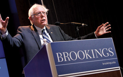 In 2015, U.S. Sen. Bernie Sanders (I-Vt.) delivers an address at the Brookings Institution. (Paul Morigi Photography/Brookings Institution via Flickr.com)