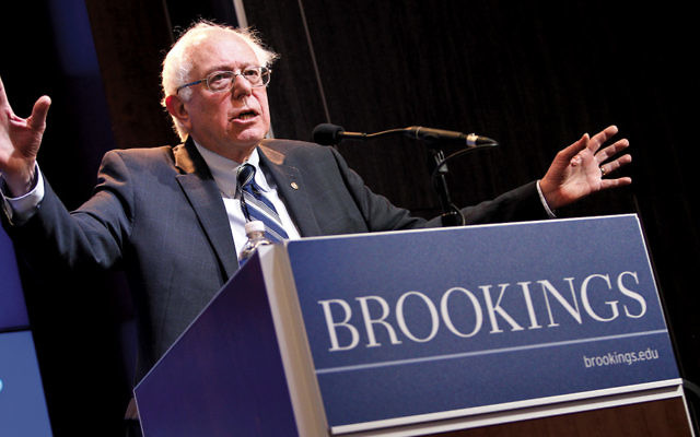 In 2015, U.S. Sen. Bernie Sanders (I-Vt.) delivers an address at the Brookings Institution. (Paul Morigi Photography/Brookings Institution via Flickr.com)