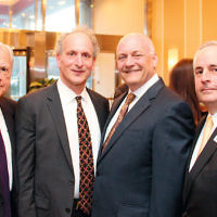 Holy Name Medical Center board member Ed Ruzinsky; Jewish Standard publisher Jamie Janoff; Holy Name Medical Center president and CEO, Michael Maron, and Sinai board member Ruvan Cohen.