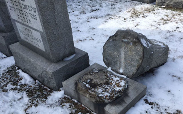 Headstones were toppled at the Waad Hakolel Cemetery, also known as the Stone Road Cemetery, in Rochester, N.Y. (Courtesy of News 10 NBC WHEC)