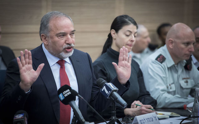 Israeli Defense Minister Avigdor Liberman speaking to the Knesset Defense and Foreign Affairs Committee, March 6, 2017. (Yonatan Sindel/Flash90)