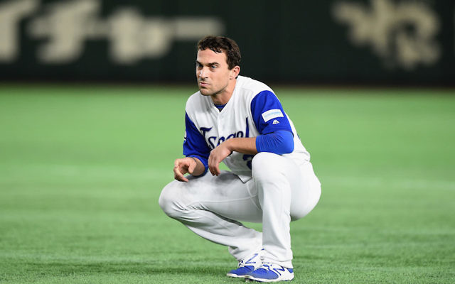 Sam Fuld of the Israeli World Baseball Classic team reacting after striking out in a game against the Netherlands at the Tokyo Dome, March 13, 2017. (Matt Roberts/Getty Images)