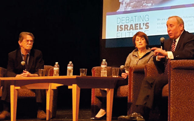 J.J. Goldberg (left) and Jonathan Tobin (right) debate Israel's future in Cincinnati earlier this year. Shari Goren Sloven, a professional divorce mediator, moderated.