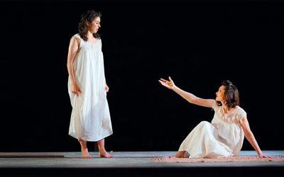 "Katrina Lenk and Adina Verson in ""Indecent's"" re-creation of ""God of Vengeance."" (Carol Rosegg)"