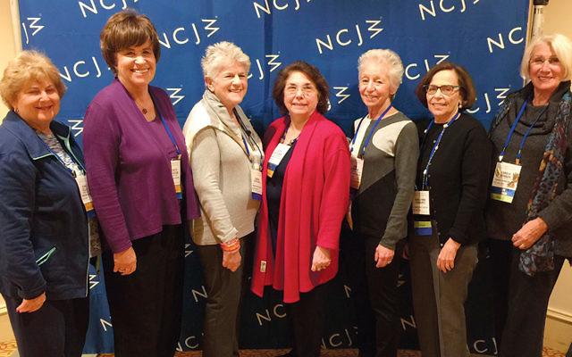 NCJW Bergen County section delegates, from left, Elaine Pollack, Elizabeth Halverstam, Sue Kanrich, Ruth Seitelman, Jane Abraham, Bari-Lynne Schwartz, and Carole Benson (NCJW)