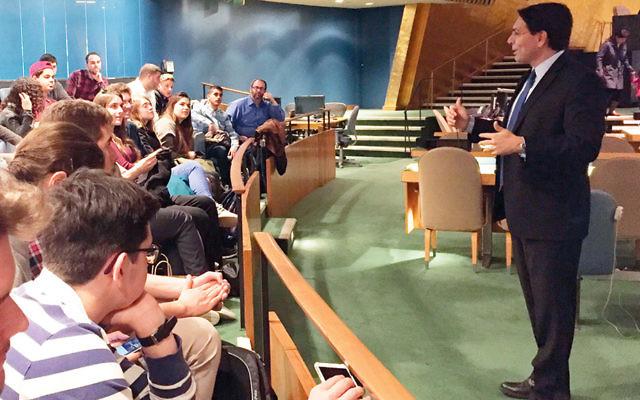 Danny Danon, Israel's ambassador to the U.N., addresses the students. (Courtesy BCHSJS)