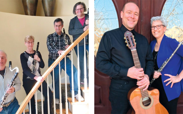 Clarinet quartet, left, and Michael Lemma and Annette Lieb