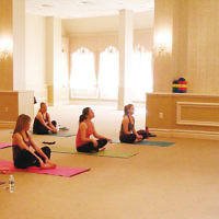 """Rachel Dewan led a morning of """"Jewish Yoga"""" at Temple Emanuel of the Pascack Valley in Woodclff Lake. It was sponsored by the shul's religious school. (Courtesy TEPV)"""
