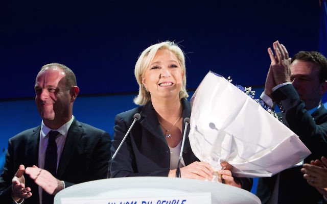 Marine Le Pen addressing supporters  after advancing to a runoff in France's presidential election, April 23, 2017.(Raphael Lafargue/Anadolu Agency/Getty Images)