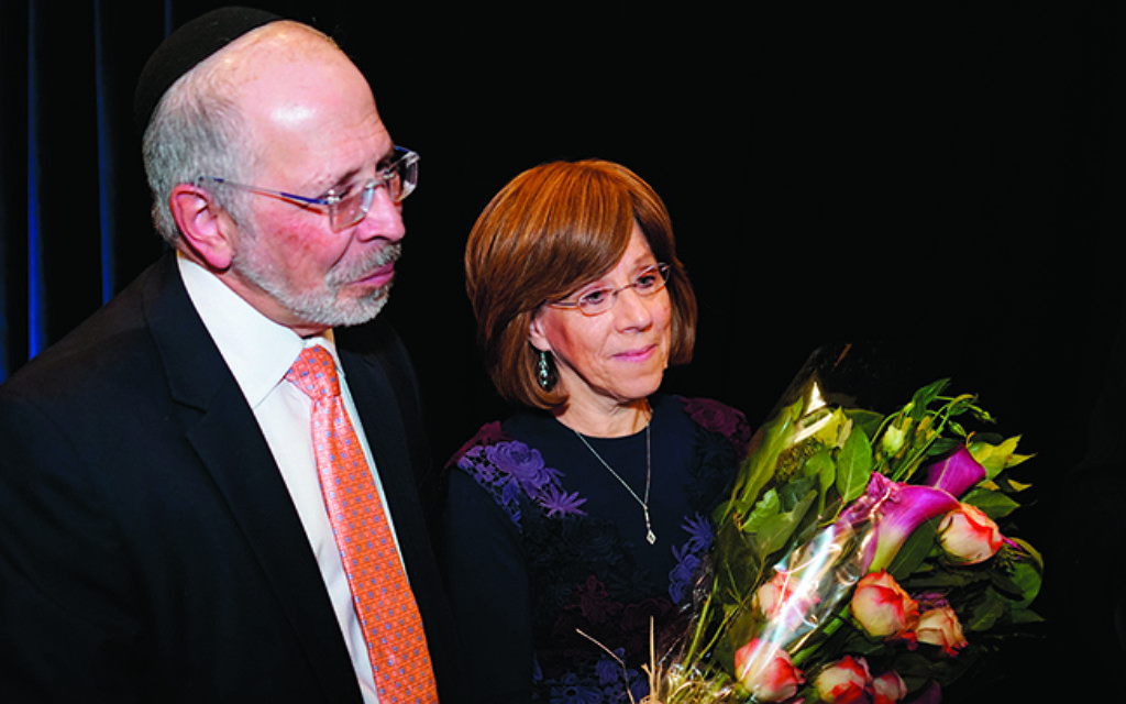 Rabbi Shmuel and Barbara Goldin are honored for their 34 years at Ahavath Torah.
