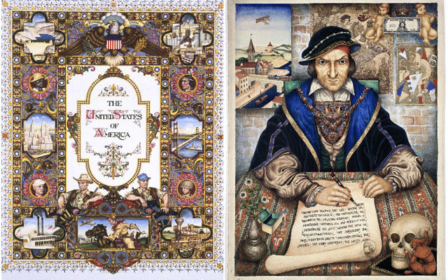 """""""The United States of America"""" (1945), left, and """"The Scribe"""" (1927), by Arthur Szyk. (The Magnes Collection of Jewish Art and Life, University of California, Berkeley)"""