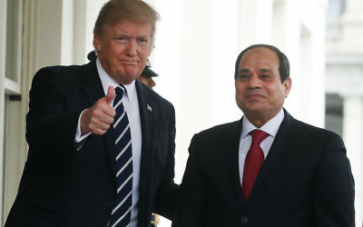 President Donald Trump welcoming Egyptian President Abdel Fattah el-Sisi to the West Wing of the White House, April 3, 2017. (Mark Wilson Wilson/Getty Images)