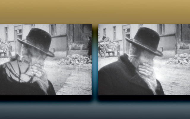 A Jewish man in Warsaw in 1941; the picture on the left is the original, and the other has been restored.