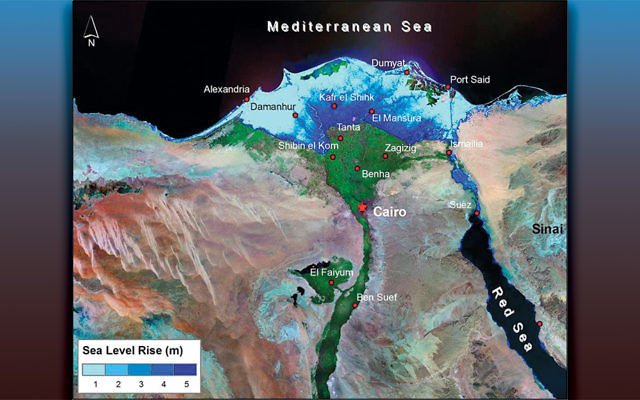 Map shows the vulnerability of the Nile Delta region to rising levels of the Mediterranean Sea brought about by climate change.