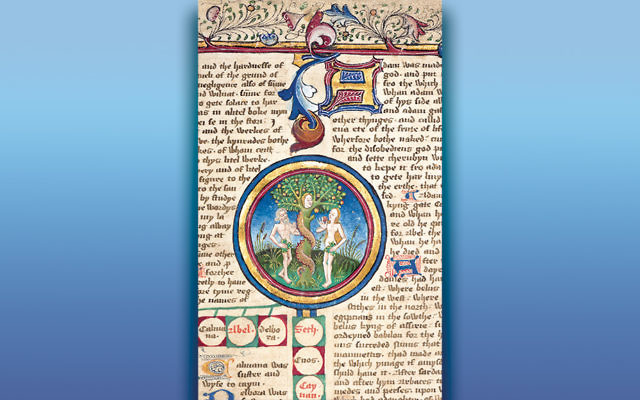 From Adam and Eve to King Edward IV —Manuscript in Middle English showing the genealogy of the kings of England, from Adam and Eve to King Edward IV (1433–1483) in a vertical line. Written and illuminated in England, ca. 1467–69. Corpus Christi College, Oxford, MS 207