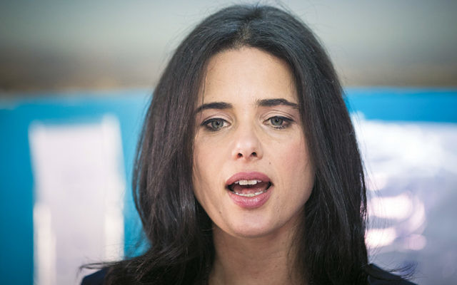Israeli Justice Minister Ayelet Shaked during  preliminary parliamentary elections in Jerusalem last month. (Yonatan Sindel/Flash90)