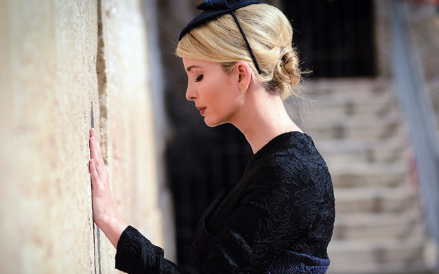 Ivanka Trump prays at the Kotel during her father's visit to Israel. (Mendy Hechtman/Flash90)