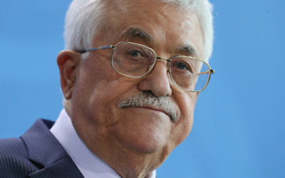 Palestinian Authority President Mahmoud Abbas speaking to the media in Berlin, April 19, 2016. (Sean Gallup/Getty Images)