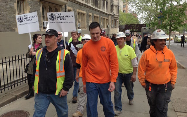 Marchers protesting labor arrangements at the Jewish Theological Seminary's construction site in New York City say the building contractor violates workers' rights, May 1, 2017. (Ben Sales)