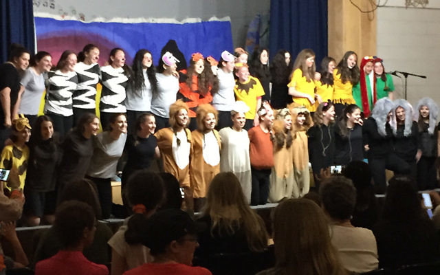"The entire ""Lion King"" cast gathers onstage at Yeshivat Noam."