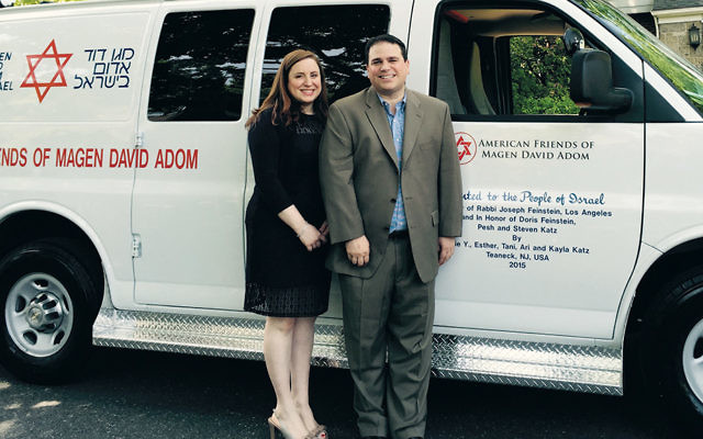 "Elie and Esther Katz donated this ambulance to Magen David Adom in 2015. Mr. Katz and his sister-in-law, Jessica Katz, will host the first ""Breakfast for Israel."""
