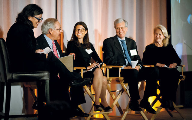 """From left, Rabbi Jan Uhrbach of JTS, the panel's moderator, joins E.J. Dionne of the Washington Post, Rabbi Sharon Brous, founder and senior rabbi of Ikar in Los Angeles, JTS Chancellor Arnie Eisen, and Daryl Roth, the Tony Award-winning producer, in a discussion of """"Moral Leadership.""""  (Ellen Dubin Photography)"""