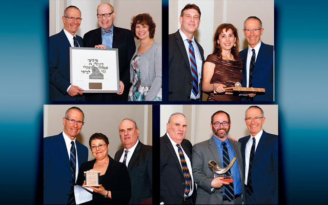 Clockwise from above left, BCHSJS president Sy Blechman with David Goodman and Dr. Hope Schlossberg; Doug and Alex Sobelman with Mr. Blechman; Mr. Nagler, Barnett Goldman, and Mr. Blechman; and Mr. Blechman, Rabbi Shelley Kniaz, and Fred Nagler (Photos by Robert Savetsky of Triple S studios)
