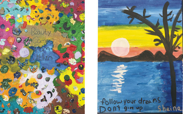 This art, created by Sinai students, will be up for auction on June 15. (Courtesy Sinai)