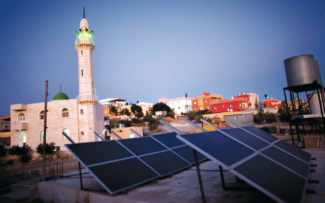 Solar panels in Darajat, a Bedouin village in Israel's Negev desert, in 2009. (Uriel Sinai/Getty Images)