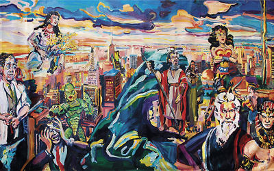 "Joel Silverstein, ""Ten Commandments - A Question."" Inspired by an 1,800 year old Jewish mural, this shows Jerusalem, Moses and Aaron, drowning Egyptians, the flooding red sea and Wonder woman, mixing figurative art with  pop references."