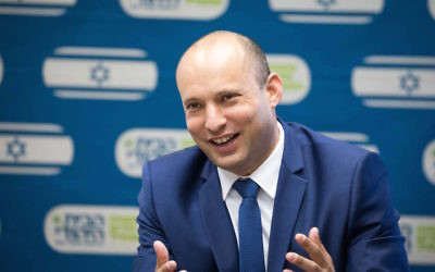 Education Minister Naftali Bennett, the architect of a new policy that could ban political opinions in Israeli classrooms, at a Knesset meeting in Jerusalem, June 12, 2017. (Yonatan Sindel/Flash90)
