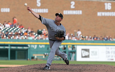 Brad Goldberg pitching for the Chicago White Sox during a game against the Detroit Tigers at Comerica Park in Detroit, June 3, 2017. (Leon Halip/Getty Images)