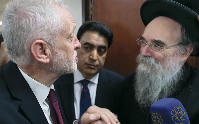 Jeremy Corbyn talks to faith leaders at the Finsbury Park Mosque on June 19. Worshippers there were struck by a van as they were leaving after Ramadan prayers. (Stefan Rousseau/WPA Pool/Getty Images)