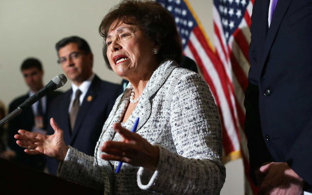 Rep. Nita Lowey speaking after a House Democratic Caucus meeting on Capitol Hill, Jan. 15, 2013. (Alex Wong/Getty Images)