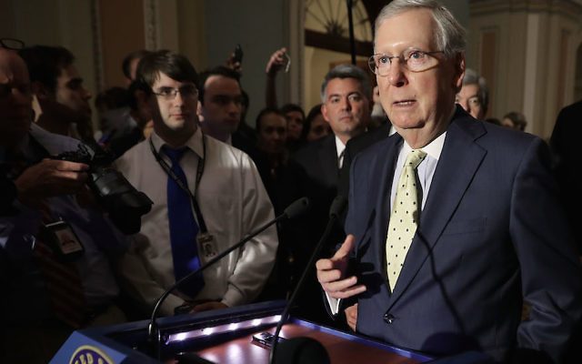 Senate Majority Leader Mitch McConnell, R-Ky., speaking to reporters at the U.S. Capitol, June 20, 2017. (Chip Somodevilla/Getty Images)