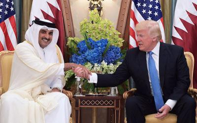 President Donald Trump meeting with Qatar's Emir Sheikh Tamim Bin Hamad Al-Thani at a bilateral meeting at a hotel in Riyadh, Saudi Arabia, May 21, 2017. (Mandel Ngan/AFP/Getty Images)