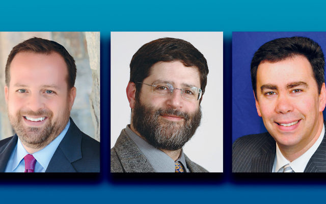 Rabbi David-Seth Kirshner, left, Rabbi Randall Mark, and Rabbi Steven Sirbu