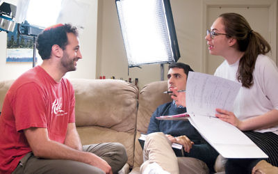 "From left, Noam Harary, Danny Hoffman, and Leah Gottfried on the set of ""Soon By You."" (Leora Veit)"